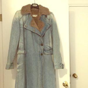MaxMar genuine fur lined denim coat. Like new